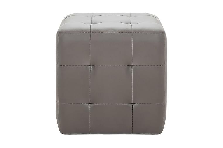 Sängbord 2 st grå 30x30x30 cm konstläder - Grå - Möbler - Sovrum - Sängbord