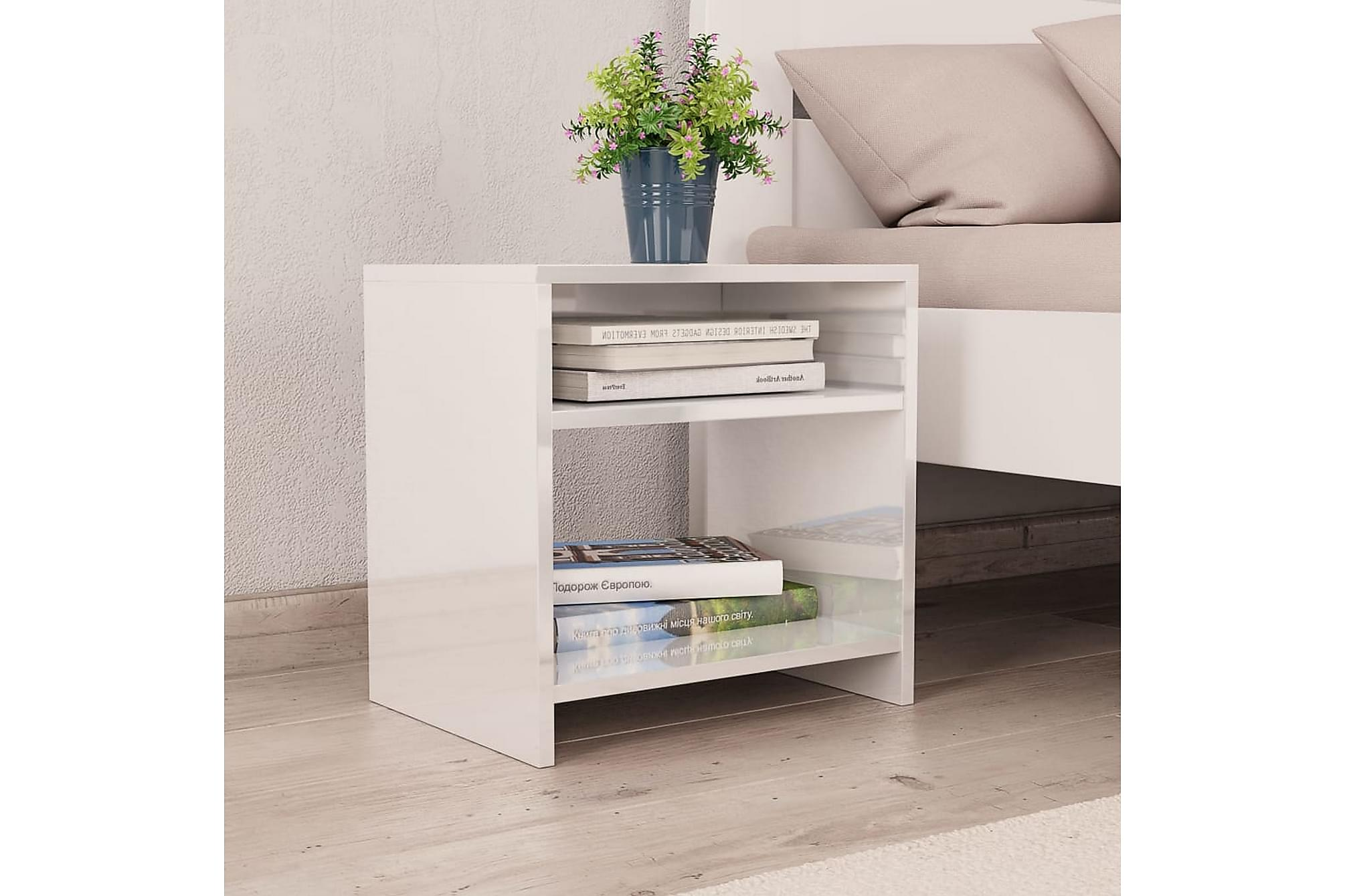 Sängbord 2 st vit högglans 40x30x40 cm spånskiva