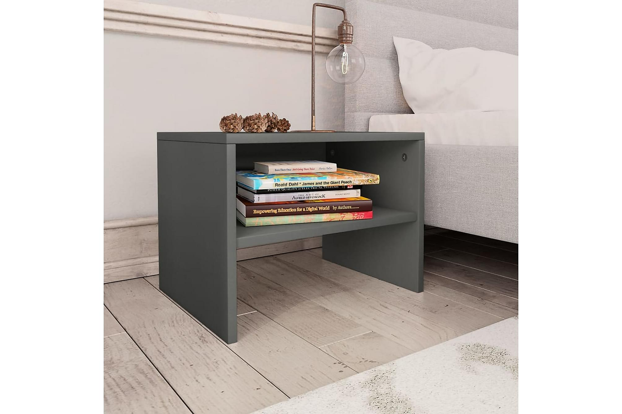Sängbord grå 40x30x30 cm spånskiva