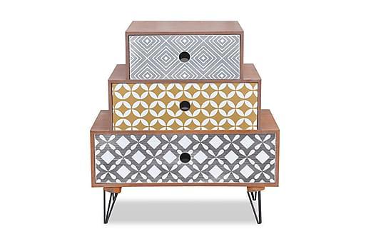Sängbord med 3 lådor brun, Sängbord