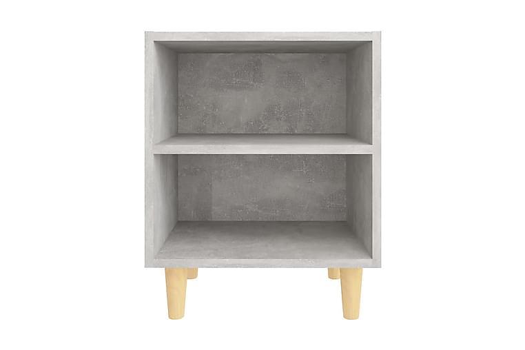 Sängbord med ben i massivt trä betonggrå 40x30x50 cm - Grå - Möbler - Sovrum - Sängbord
