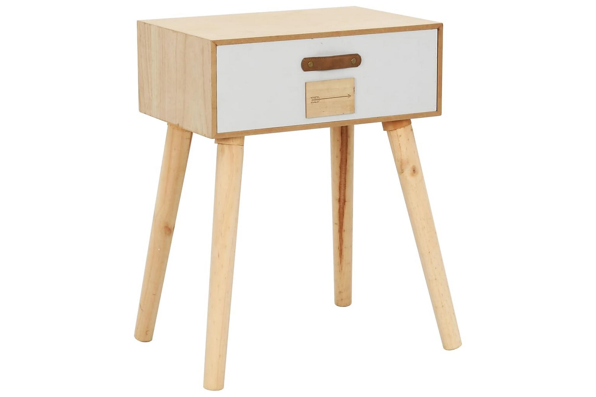 Sängbord med låda 44x30x58,5 cm massiv furu