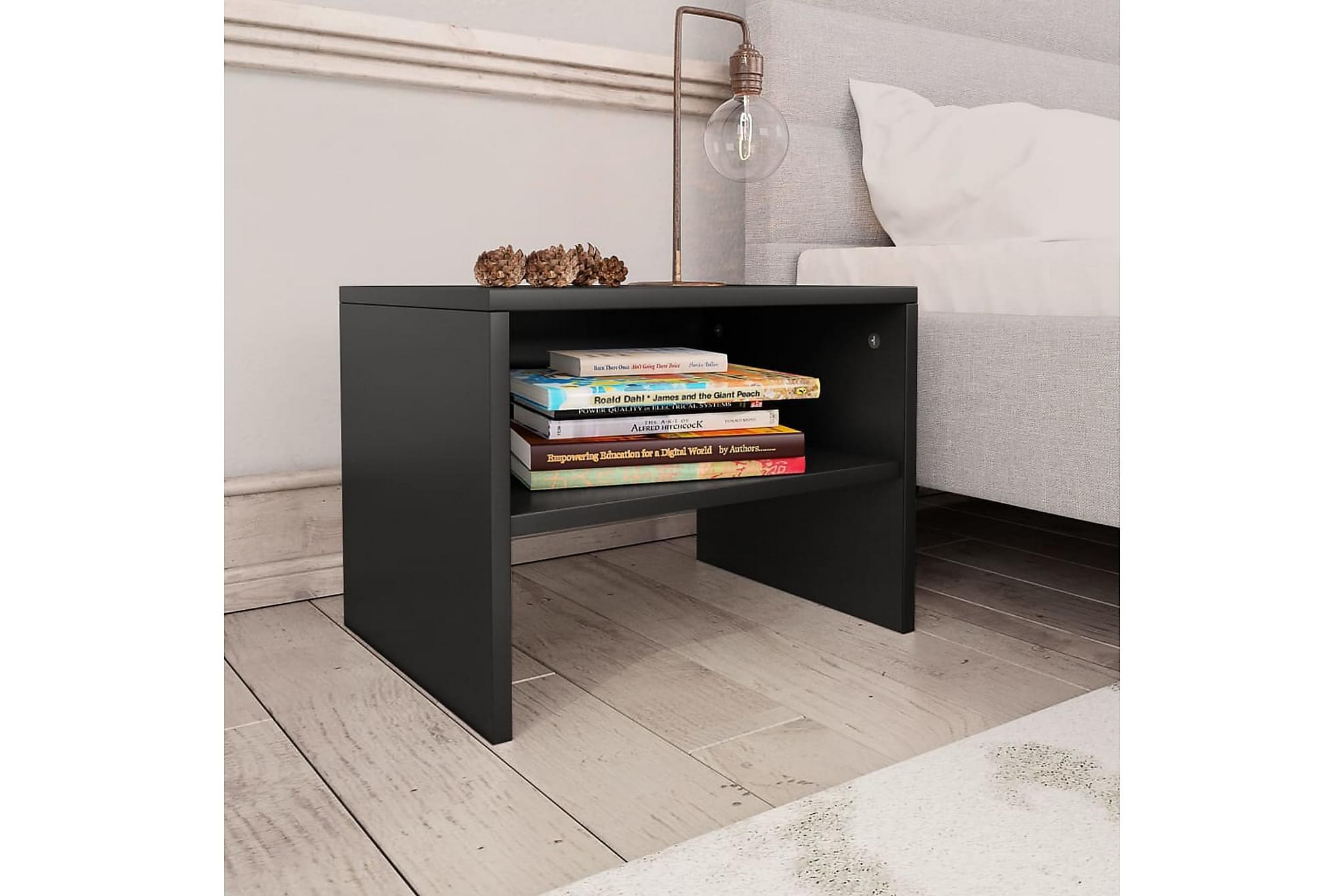 Sängbord svart 40x30x30 cm spånskiva