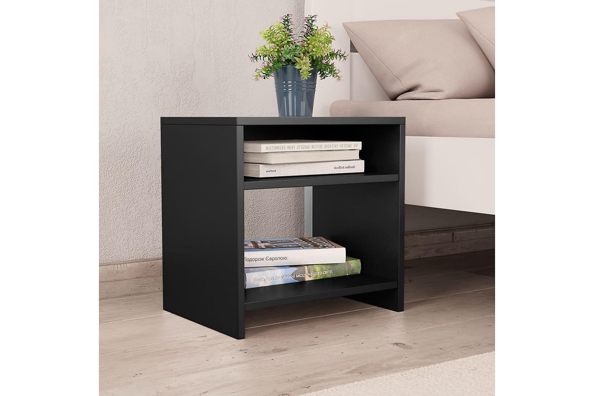 Sängbord svart 40x30x40 cm spånskiva