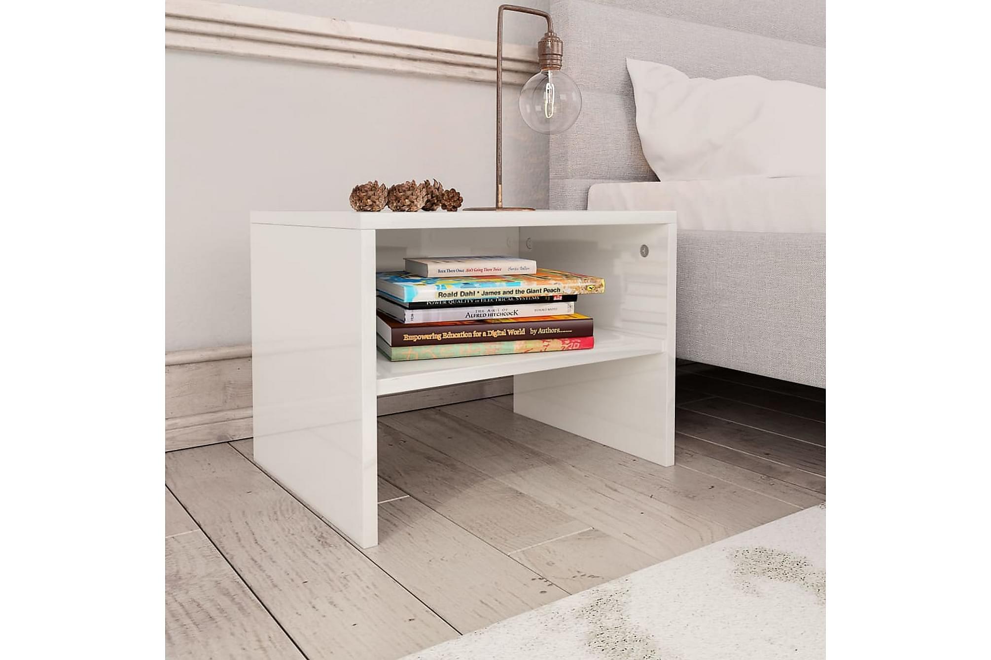 Sängbord vit högglans 40x30x30 cm spånskiva