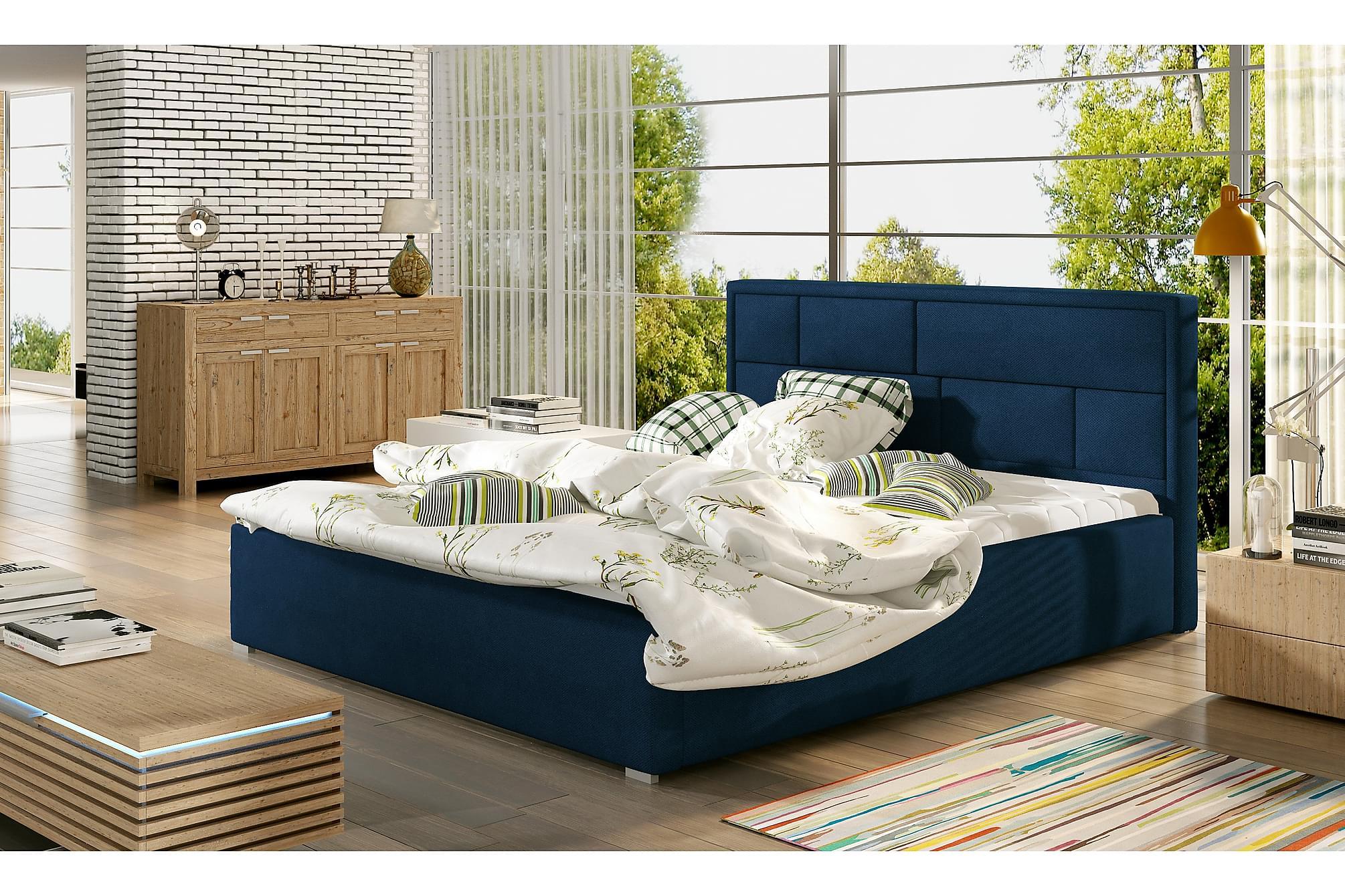 AGULLANA Sängram 140x200 cm Blå, Sängram & sängstomme