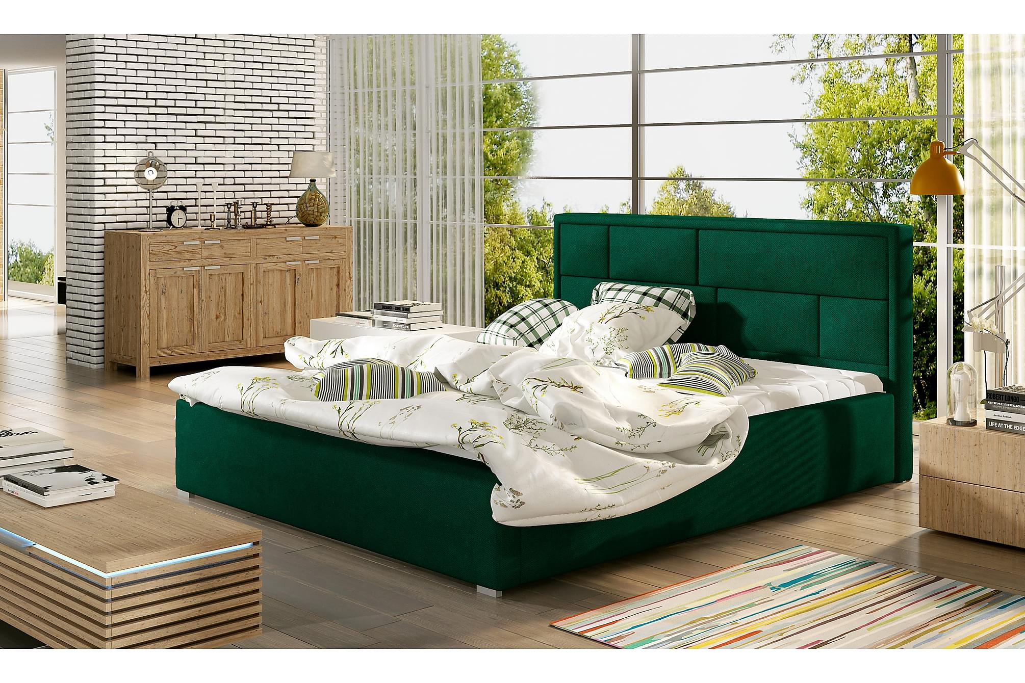 AGULLANA Sängram 140x200 cm Grön, Sängram & sängstomme