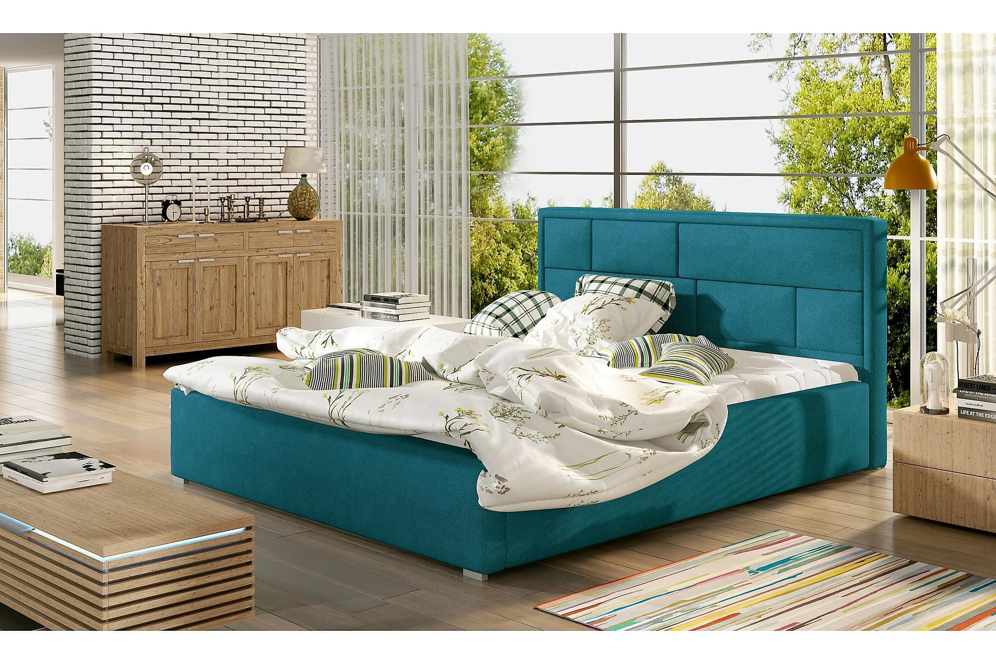 AGULLANA Sängram 160x200 cm Blå, Sängram & sängstomme