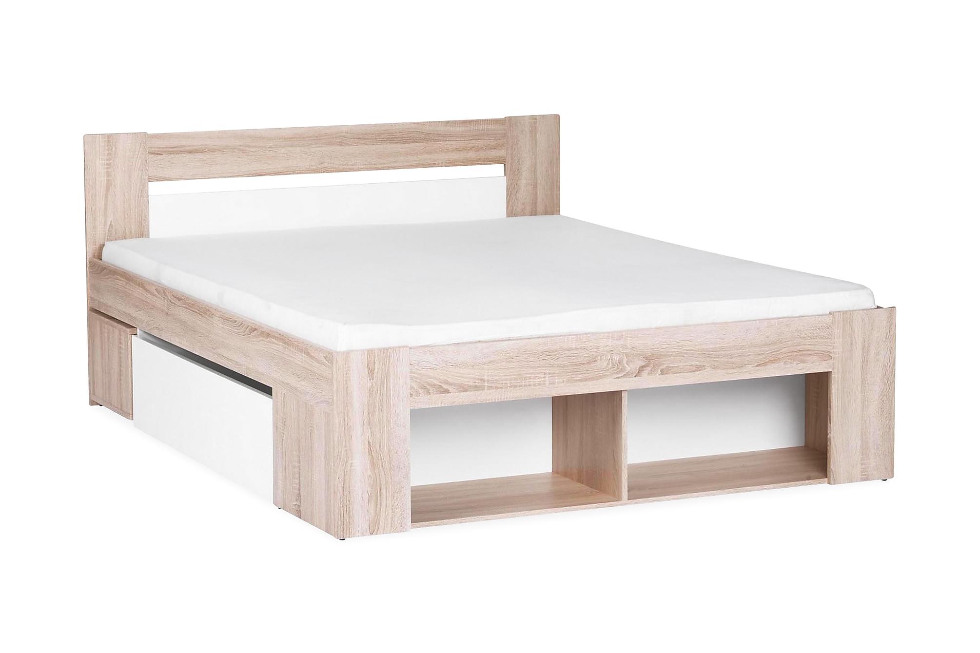 Notara sängram med förvaring 140x200 + sängbord vit/ek