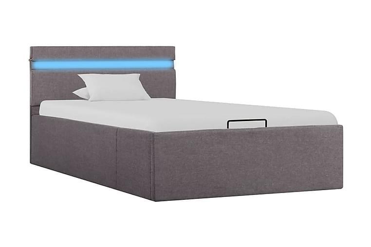 Sängram m. hydraulisk förvaring m. LED taupe tyg 100x200 cm - Brun - Möbler & Inredning - Sängar - Sängram & sängstomme