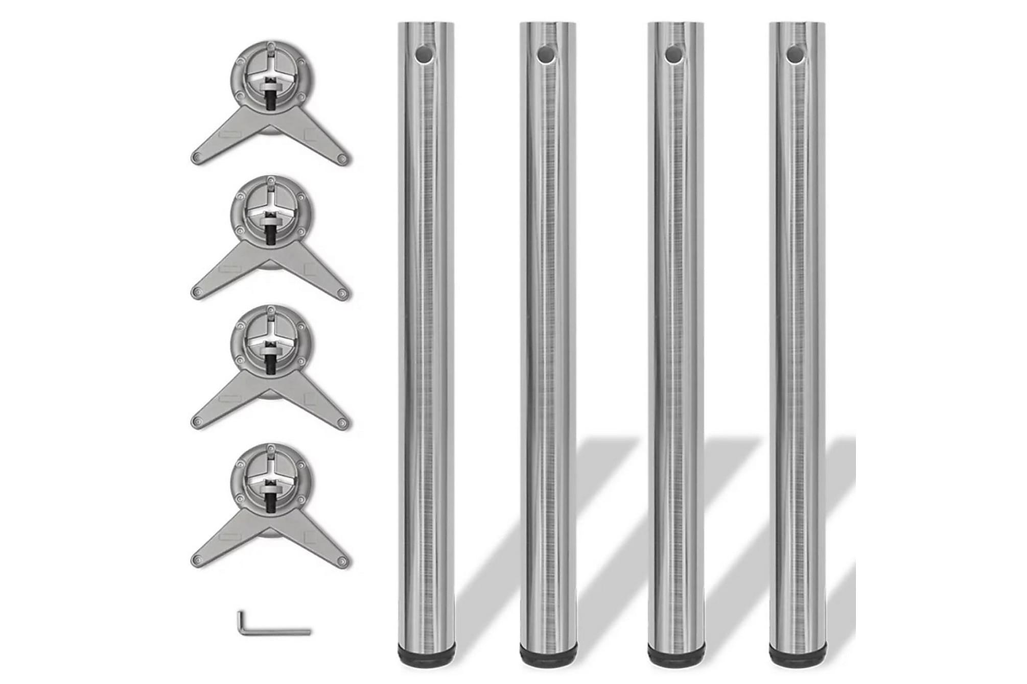 4 Justerbara bordsben i borstad nickel 710 mm, Bordsben & tillbehör