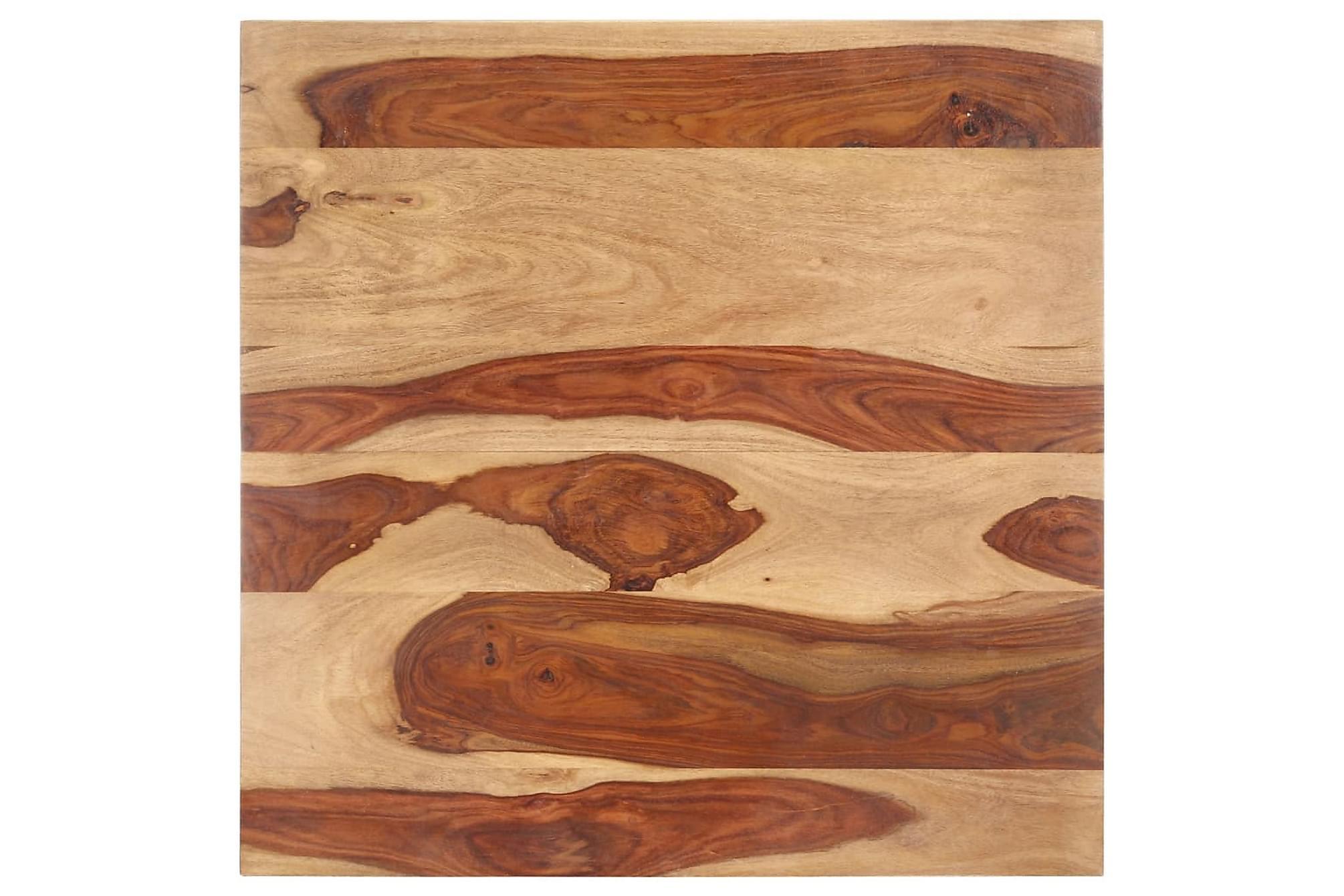 Bordsskiva i massivt sheshamträ 25-27 mm 70x70 cm, Bordsben & tillbehör