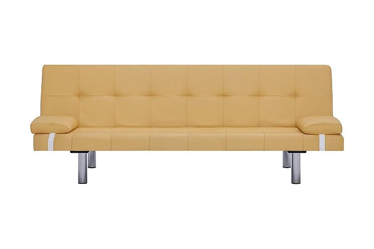 Bäddsoffa med två kuddar gul polyester - Gul - Möbler & Inredning - Soffor - Bäddsoffor