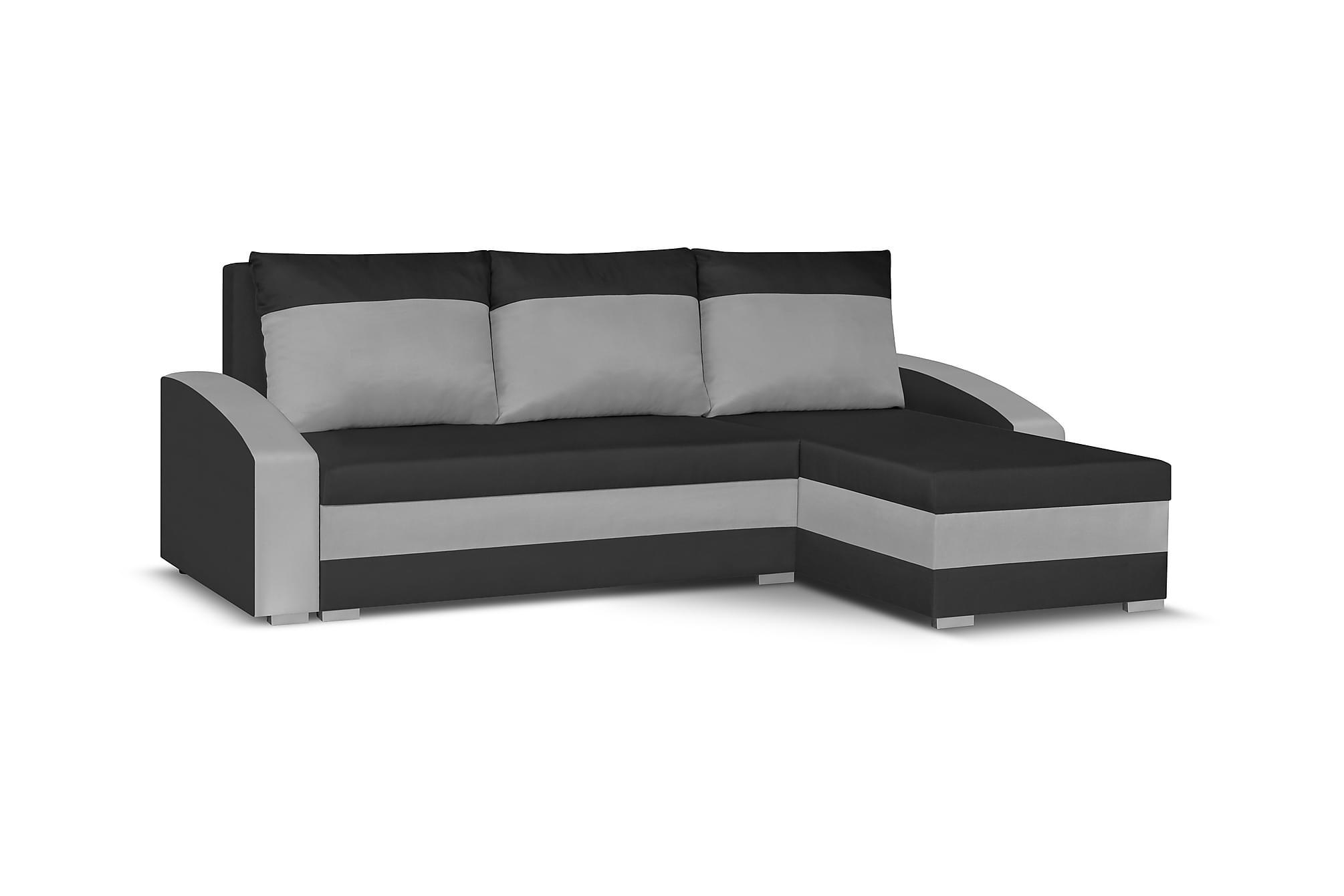 Banyoles divanbäddsoffa svart/grå
