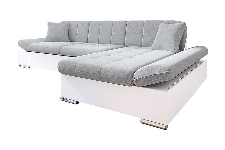 JUMJI Bäddsoffa 4-sits Höger Vit/Ljusgrå - Vit/Ljusgrå - Möbler & Inredning - Soffor - Bäddsoffor
