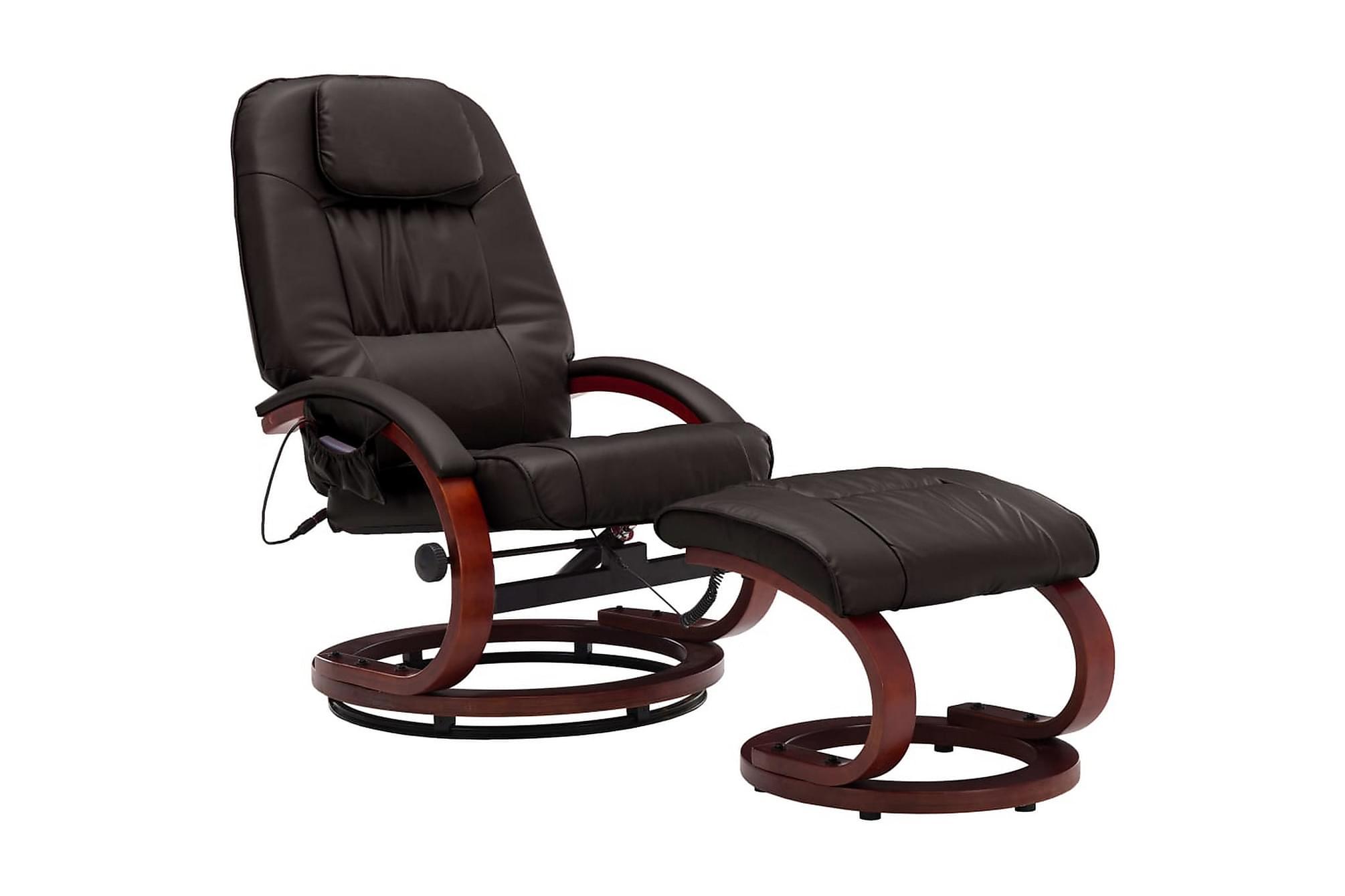 Massagefåtölj med fotpall brun konstläder, Massagestolar & massagefåtöljer