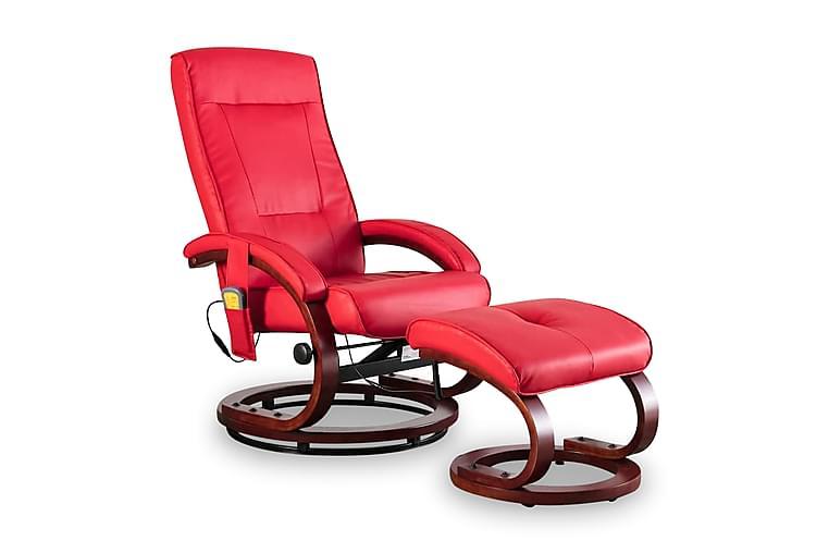 Massagefåtölj med fotpall röd konstläder - Röd - Möbler - Vardagsrum - Fåtöljer & fotpallar - Fåtölj med pall