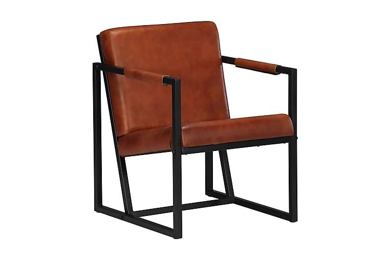 Fåtölj äkta läder brun - Brun - Möbler & Inredning - Fåtöljer & fotpallar - Skinnfåtölj