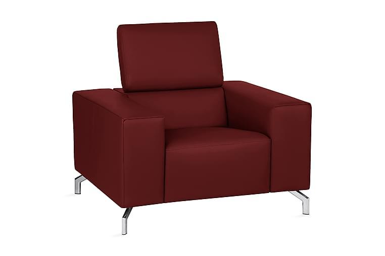 SAREGO Fåtölj Läder Röd/Krom - Möbler & Inredning - Fåtöljer & fotpallar - Skinnfåtölj