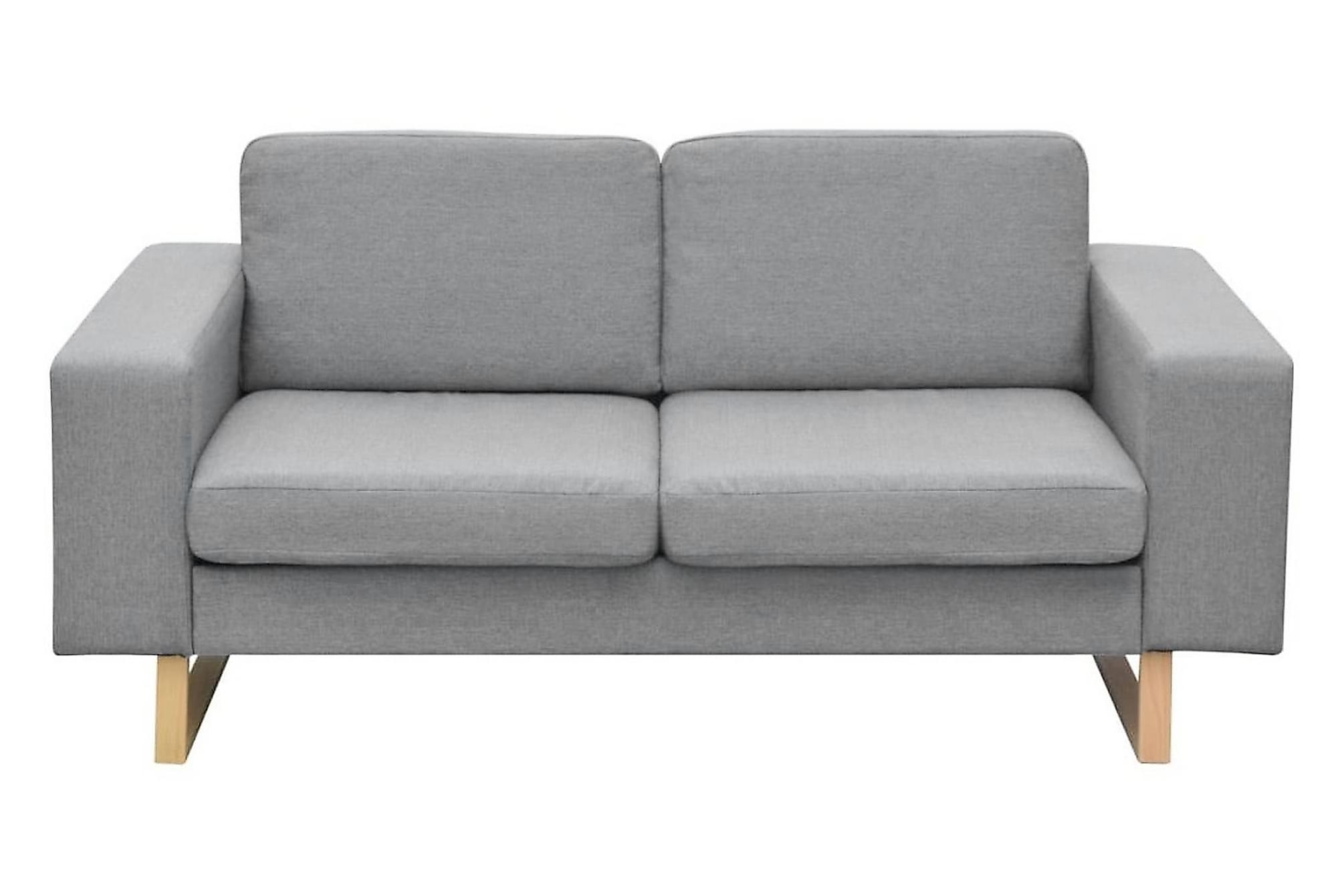 Soffgrupp med 2-sits och 3-sits ljusgrå