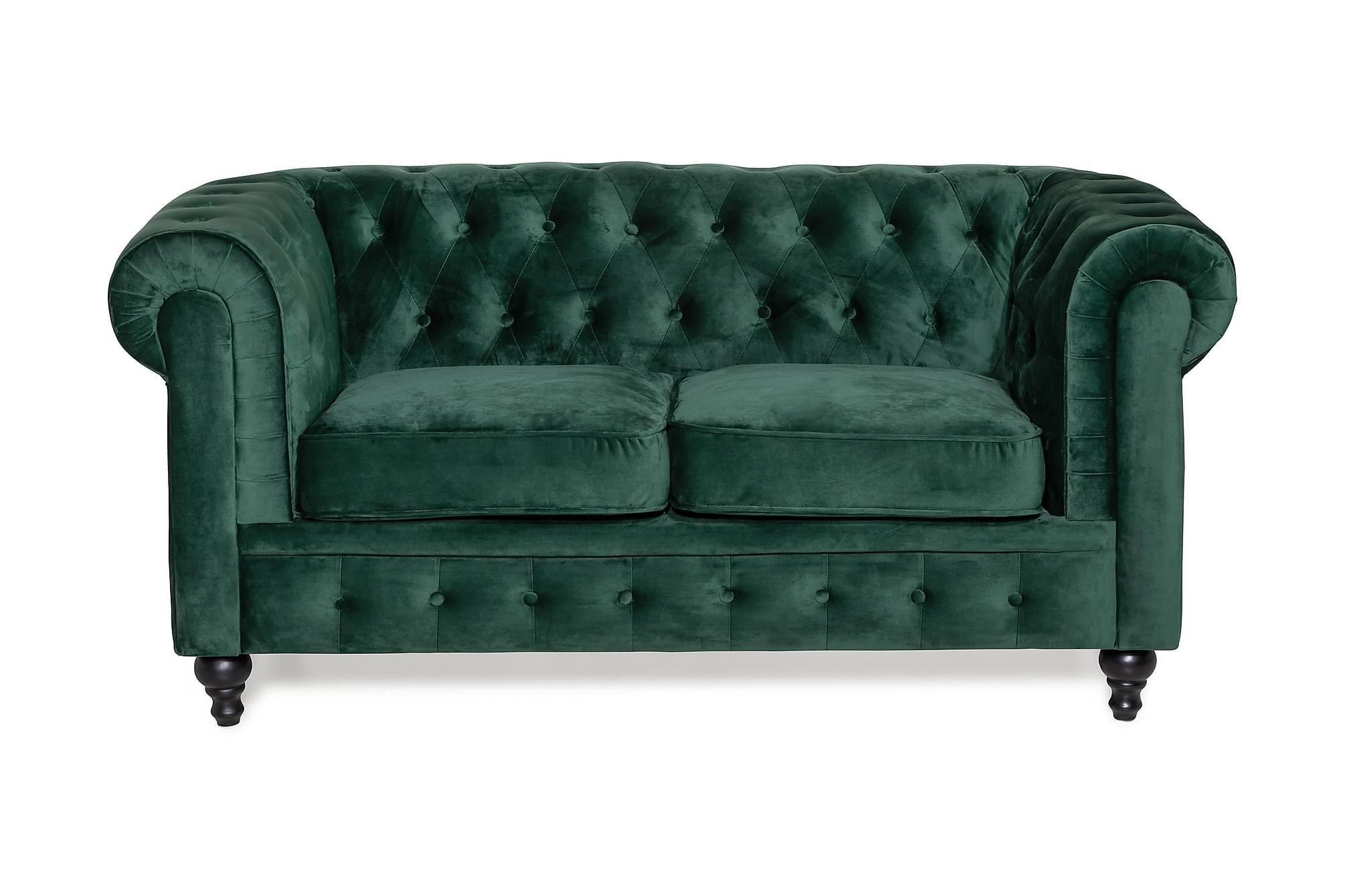 Chesterfield sammetssoffa 2-sits mörkgrön
