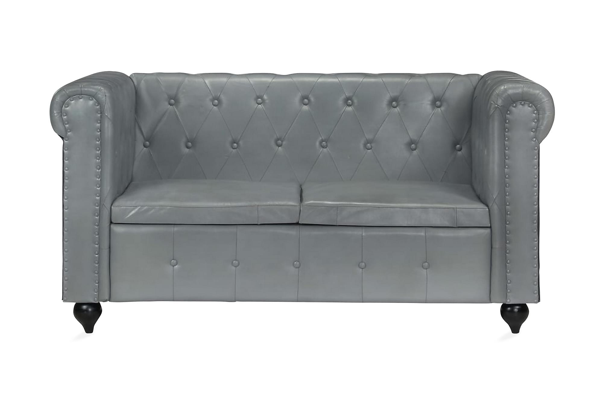 Chesterfieldsoffa 2-sits grå äkta läder