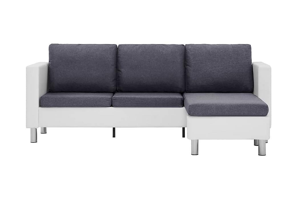 3-sitssoffa med dynor konstläder vit - Vit - Möbler & Inredning - Soffor - Skinnsoffor