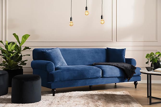 ANDREAS Sammetssoffa 3-sits Midnattsblå - Möbler & Inredning - Soffor - 3-sits soffor