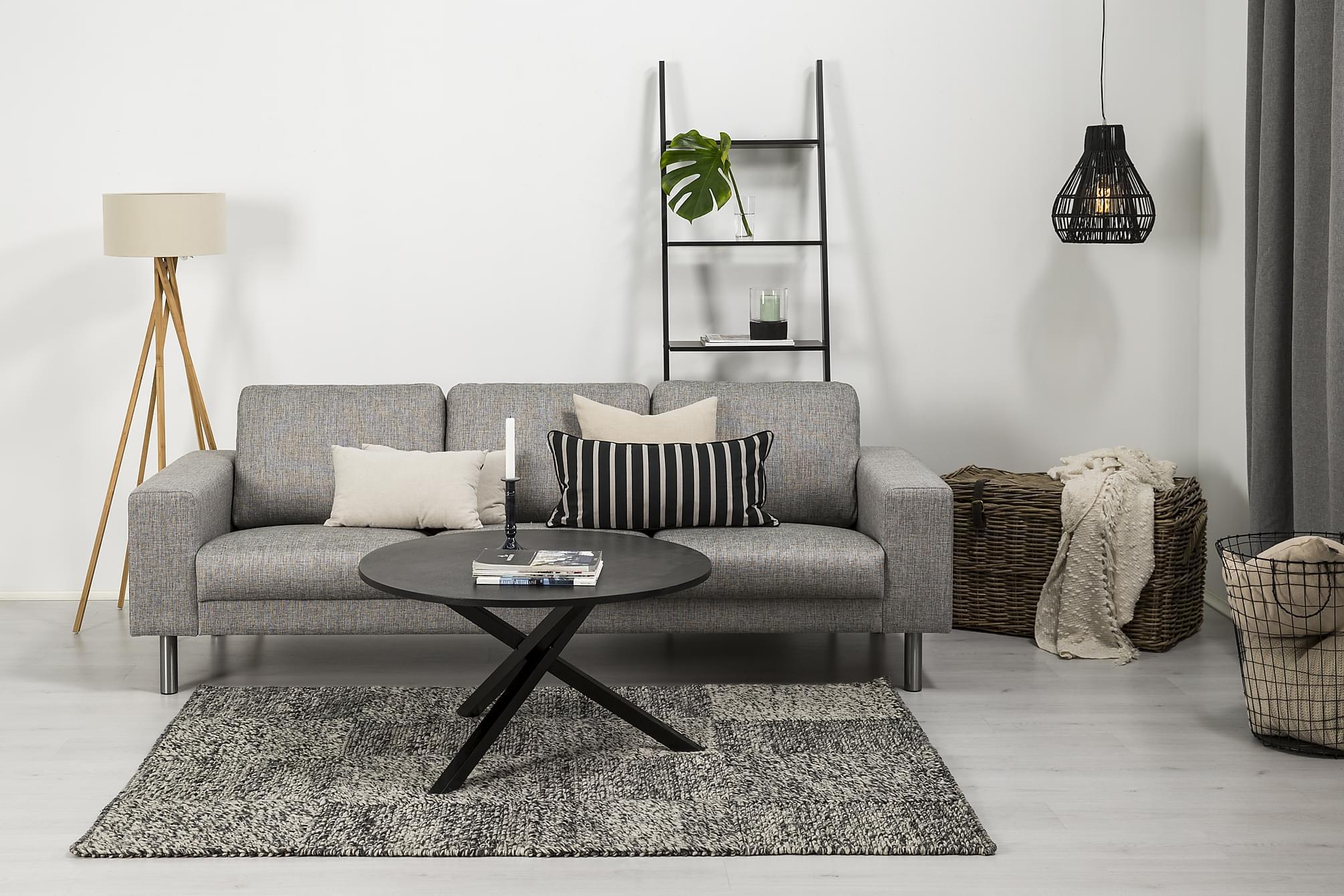 RIMELLA 3-sits Soffa Ljusgrå