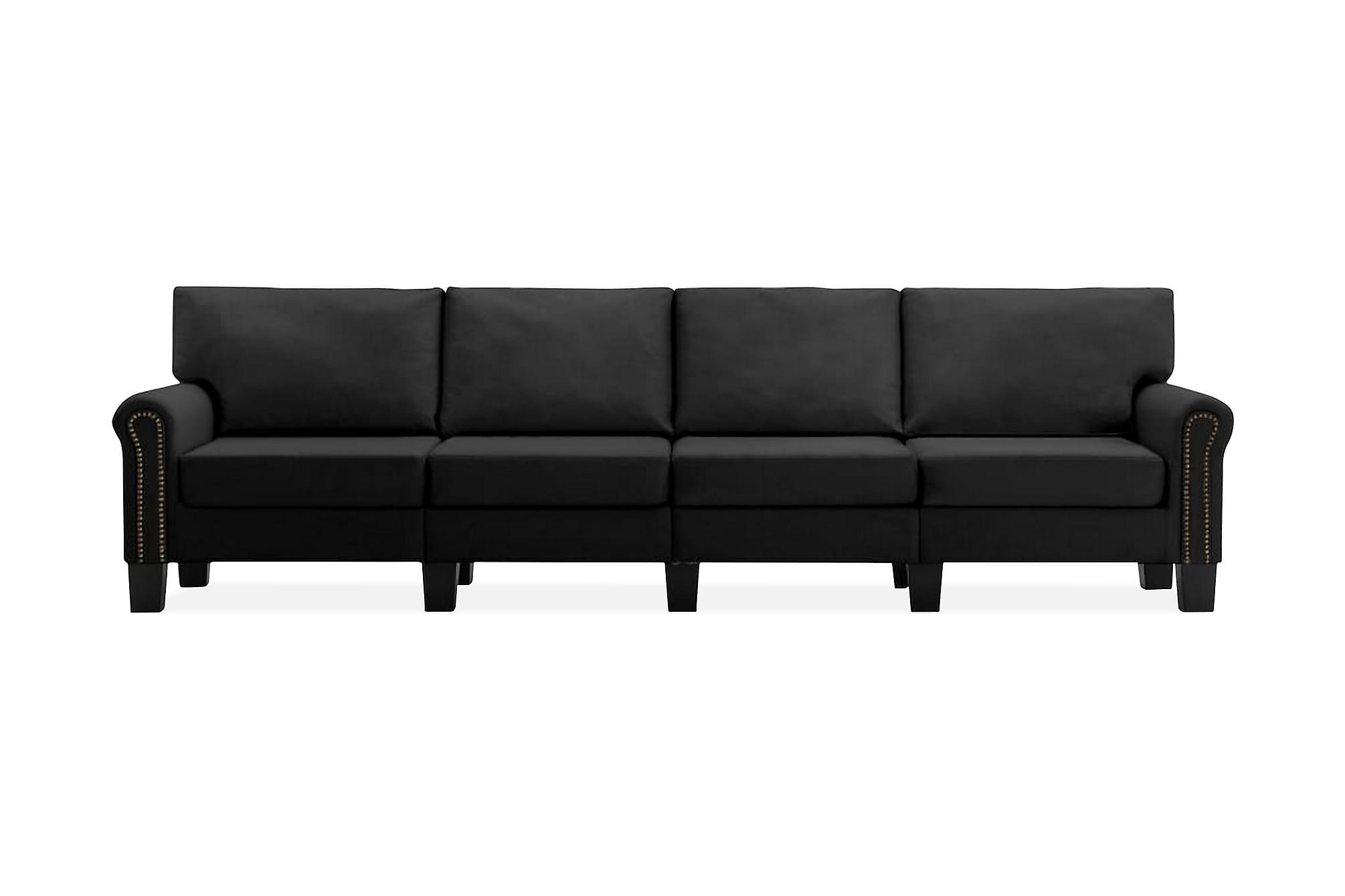 4-sitssoffa svart tyg