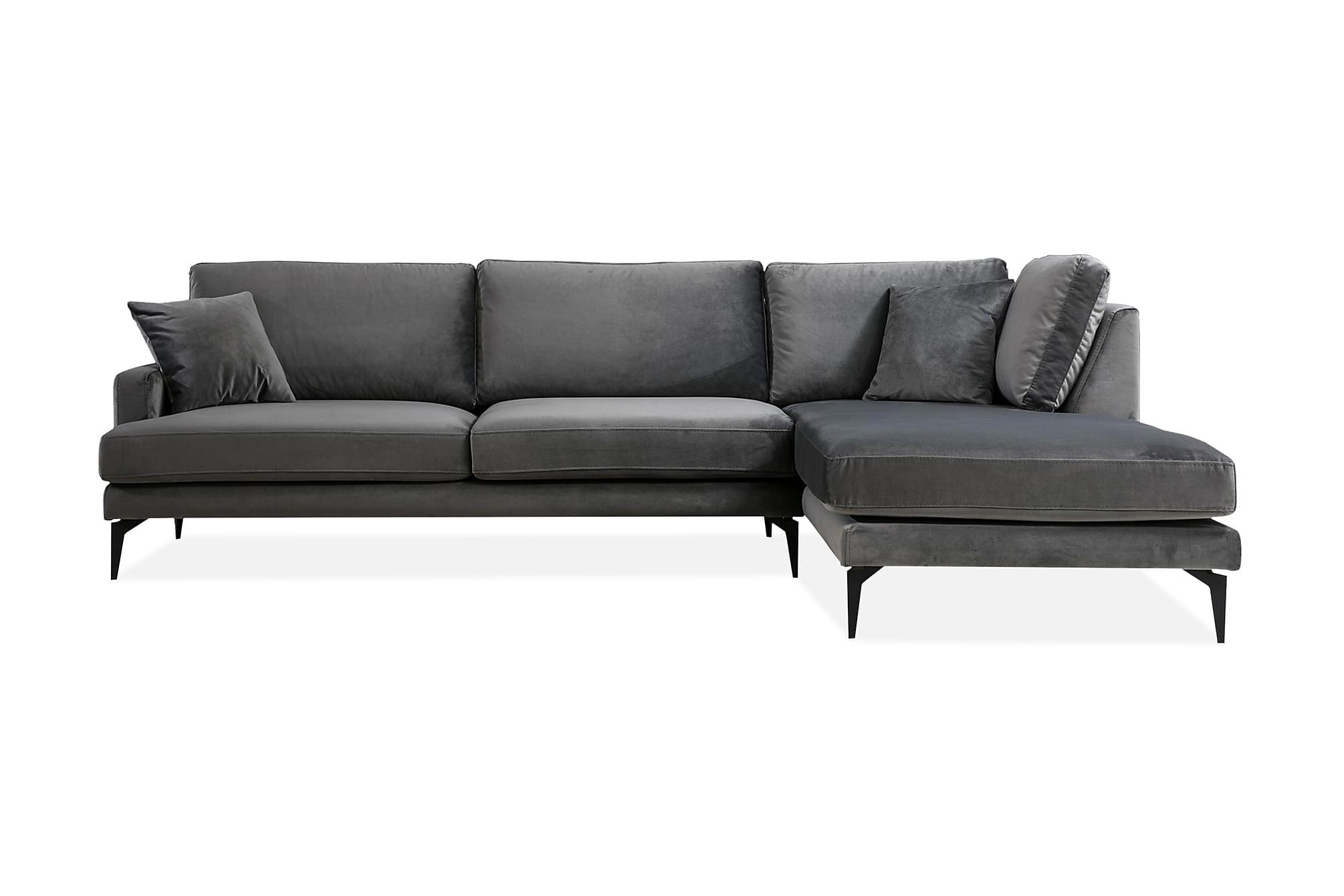 Brietzke hörnsoffa med divan höger svart