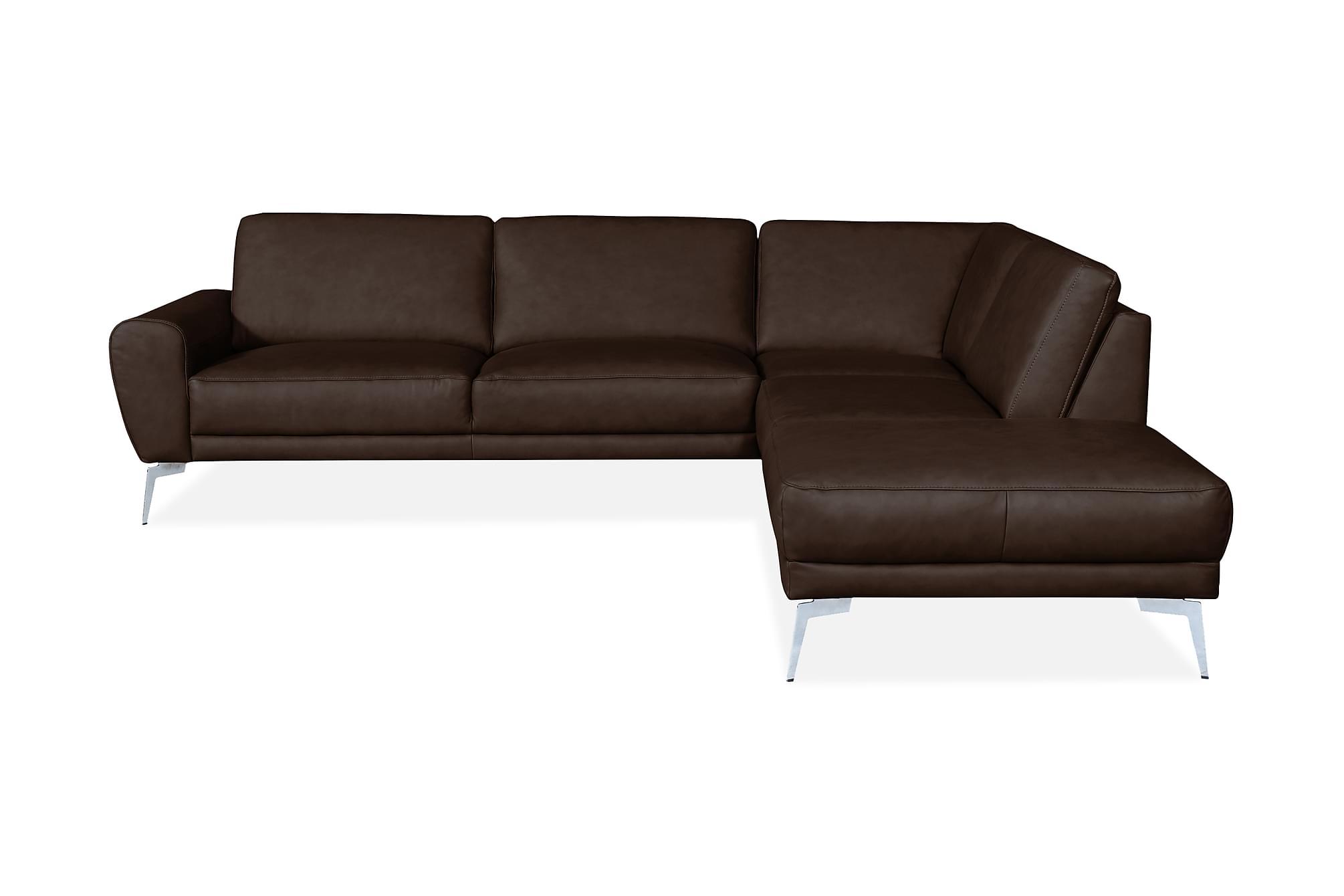 Brienno hörnsoffa höger läder brun/krom/mattsvart