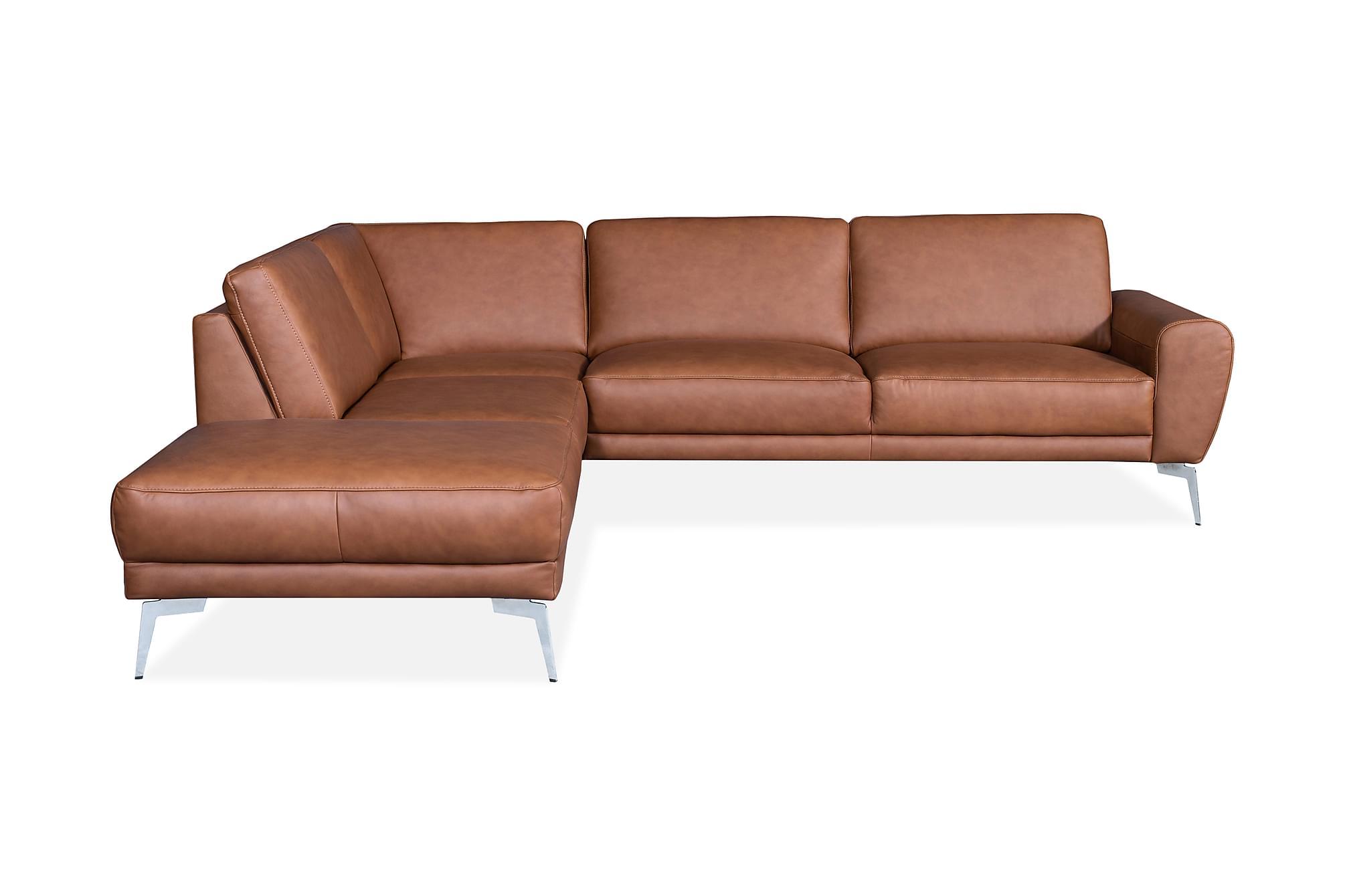 Brienno hörnsoffa vänster läder cognac/krom/mattsvart