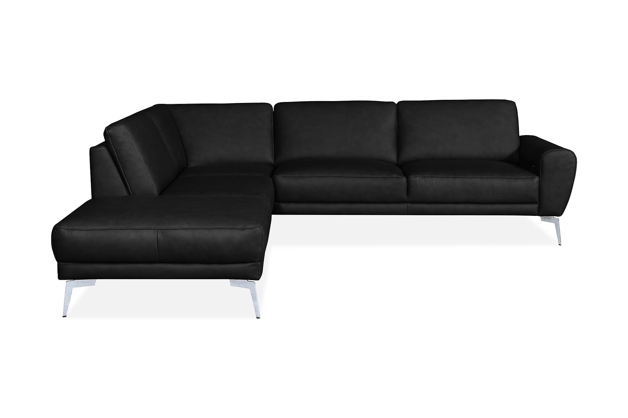 Brienno hörnsoffa vänster läder svart/krom/mattsvart