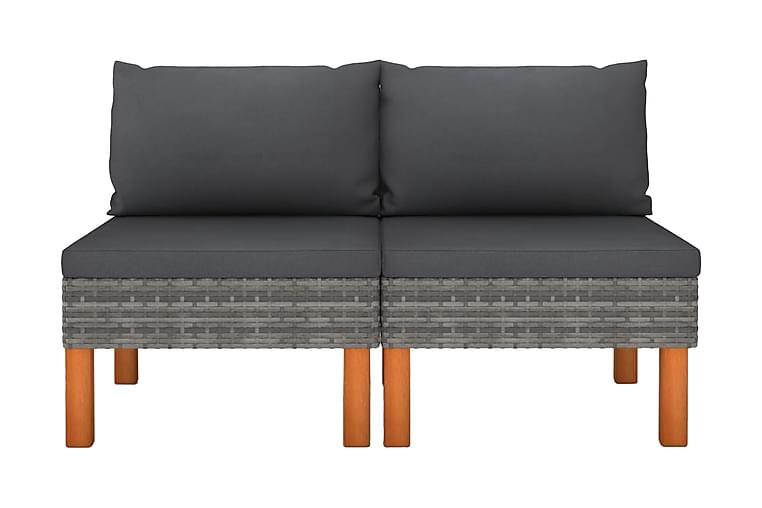 Mittensoffor 2 st konstrotting och massivt eukalyptusträ - Grå - Möbler & Inredning - Soffor - Modulsoffor