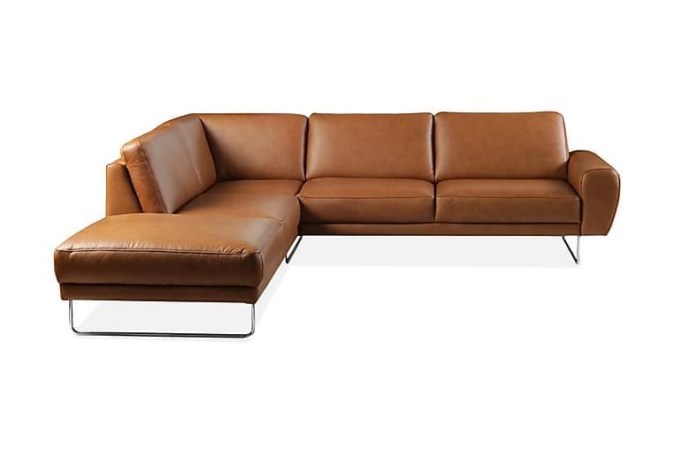 BRIENNO Hörnsoffa Vänster Läder Ljusbrun - Möbler & Inredning - Soffor - Skinnsoffor