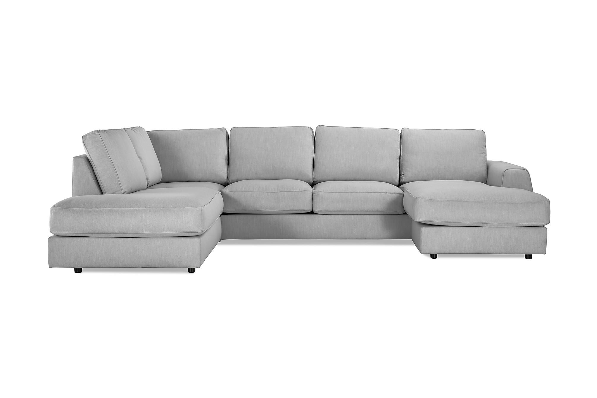 Clarksville lyx u-soffa med divan höger linnegrå