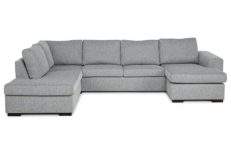 CONNECT U-soffa Large med Divan Höger Grovvävt tyg Ljusgrå - Skräddarsy färg och tyg - Möbler & Inredning - Soffor - U-soffor