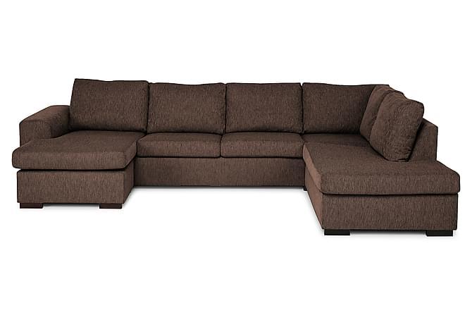 CONNECT U-soffa Large med Divan Vänster Brun - Möbler & Inredning - Soffor - U-soffor