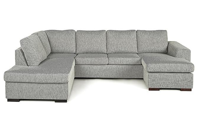 CONNECT U-soffa med Divan Höger Grovvävt tyg Ljusgrå - Skräddarsy färg och tyg - Möbler & Inredning - Soffor - Divansoffor