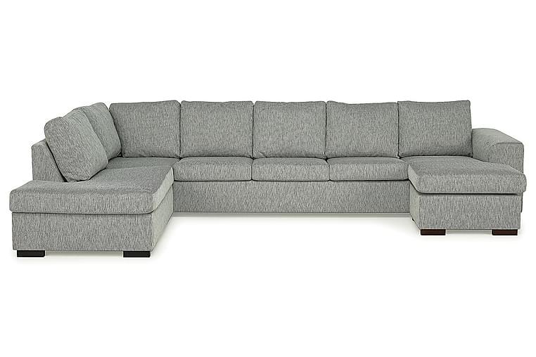 CONNECT U-soffa XXL med Divan Höger Grovvävt tyg Grå - Skräddarsy färg och tyg - Möbler & Inredning - Soffor - U-soffor