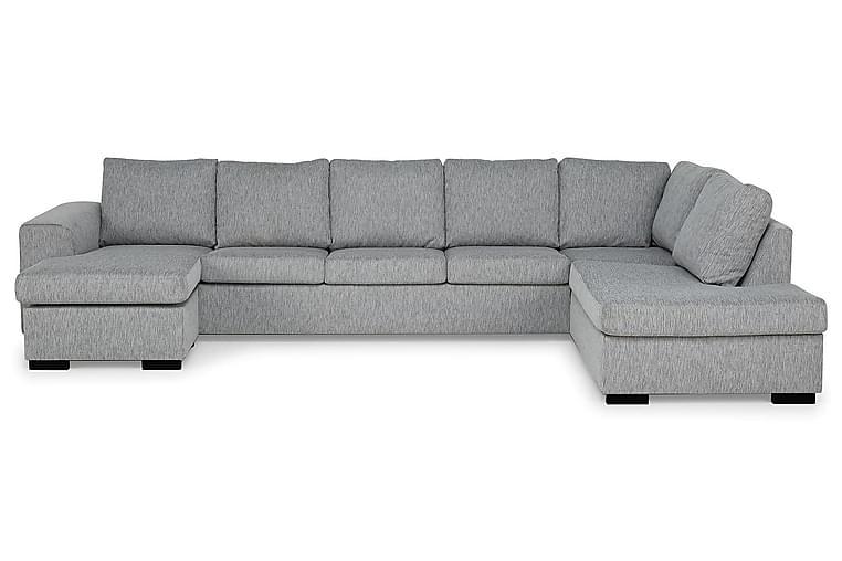 CONNECT U-soffa XXL med Divan Vänster Grovvävt tyg Ljusgrå - Skräddarsy färg och tyg - Möbler & Inredning - Soffor - U-soffor