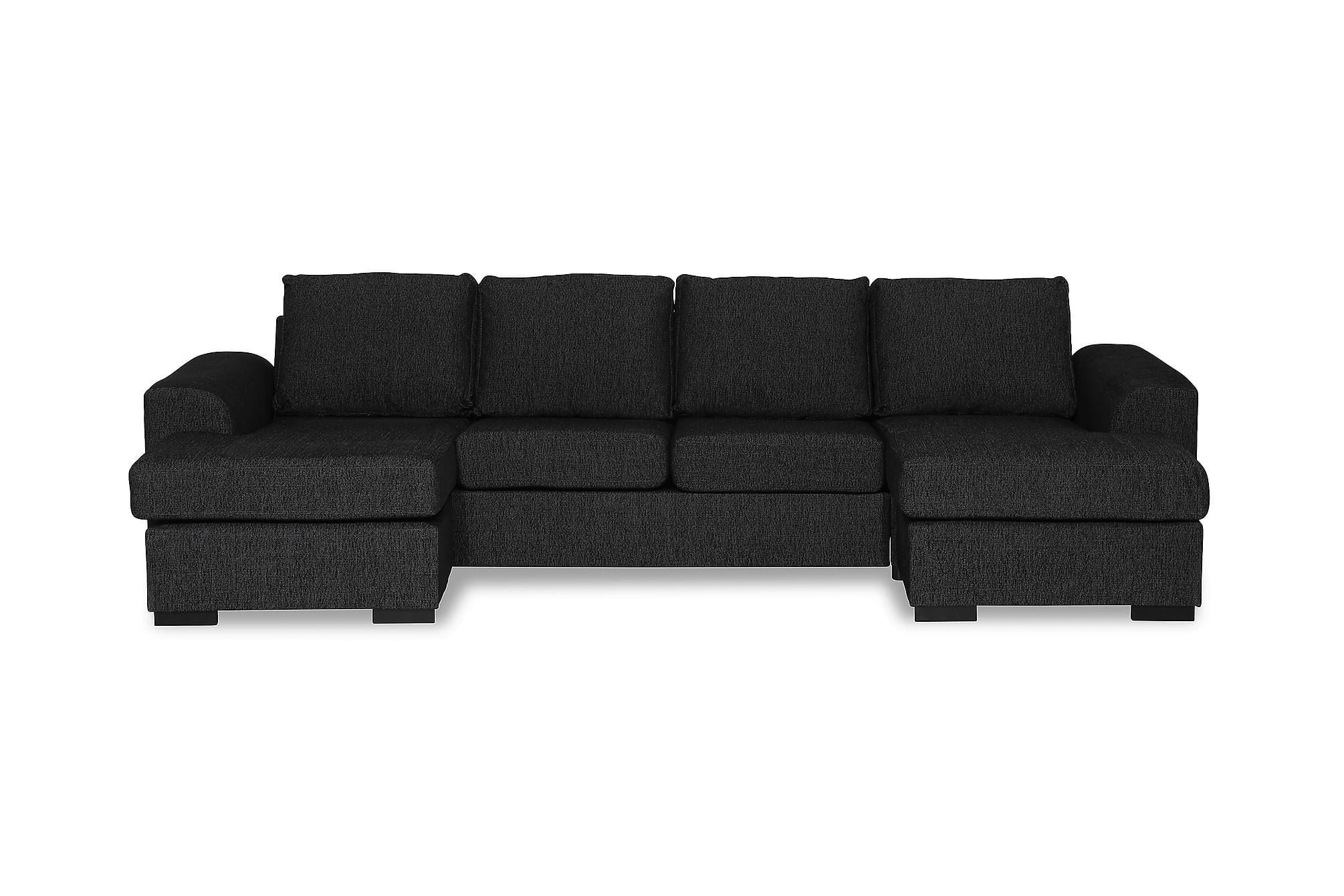 NASHVILLE U-soffa Dubbeldivan Svart