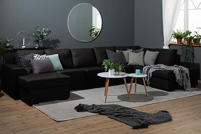 NASHVILLE LYX U-soffa Large med Divan Vänster Svart - Möbler & Inredning - Soffor - U-soffor