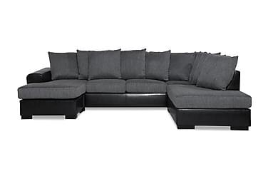 NASHVILLE LYX U-soffa med Divan Vänster Svart/Grå