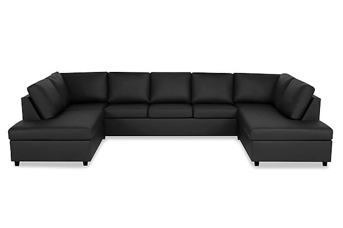 NEW YORK U-soffa med Schäslonger Svart Konstläder - Inomhus - Soffor - U-soffor