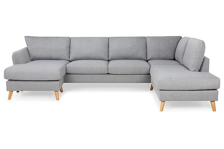 OSCAR U-soffa med Divan Vänster Grovvävt tyg Ljusgrå - Skräddarsy färg och tyg - Möbler & Inredning - Soffor - U-soffor
