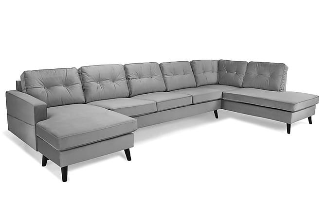 RIVALTA U-soffa Large med Divan Vänster Sammet Ljusgrå - Inomhus - Soffor - U-soffor