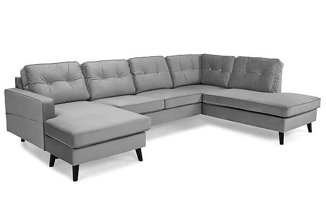 RIVALTA U-soffa med Divan Vänster Sammet Ljusgrå - Inomhus - Soffor - U-soffor