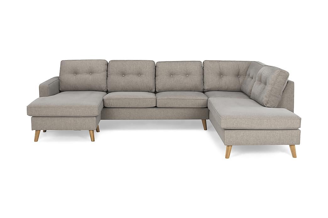 RIVALTA U-soffa med Divan Vänster Tvättbart Tyg Gråbrun - Möbler & Inredning - Soffor - U-soffor